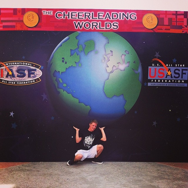 Dylan Grant at the Cheerleading Worlds